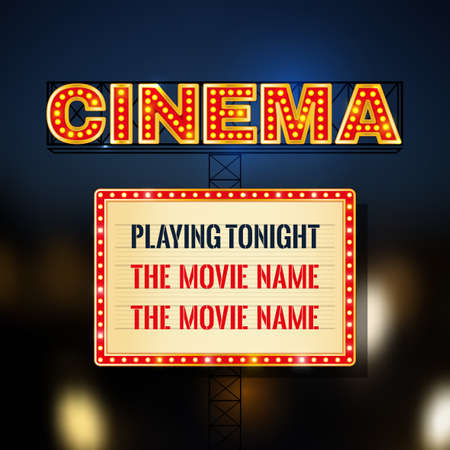 tonight: Retro glowing cinema signboard with illuminated elements in red, beige, golden and blue colors on a dark background.