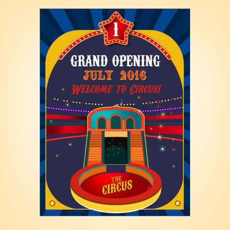 proclamation: vintage circus background in bright red, yellow, violet and dark blue colors with illuminated elements. illustration useful for a poster, advertisement or placard graphic design Illustration