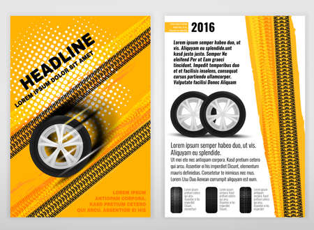 tire cover: automotive portrait template. Backgrounds for poster, print,  advertisement, booklet, brochure and leaflet design. Editable graphic image in white, yellow, oramge and black colors