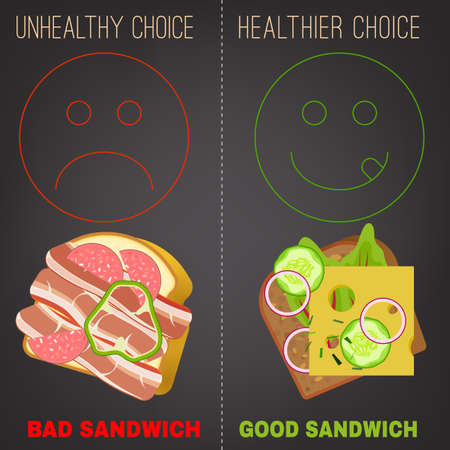 healthier: Proper nutrition concept. Comparison of unhealthy and healthier choices. Editable image in modern flat style on a dark gray background. Eat a healthy diet and prevent obesity.