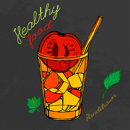 tomato juice: tomato juice image  in artistic style.  illustration on a textured dark gray background. Tomatoes, Ice and parsley in a glass in red, orange, black and green colors.