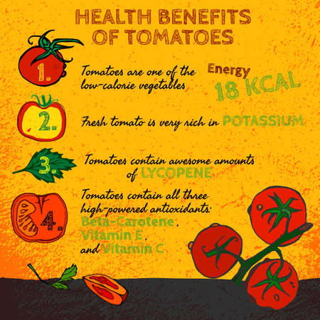 hale: Health benefits of ripe tomatoes. Medicine image with icons and elements in  style on a textured background. illustration made in orange, red, yellow and green colors.