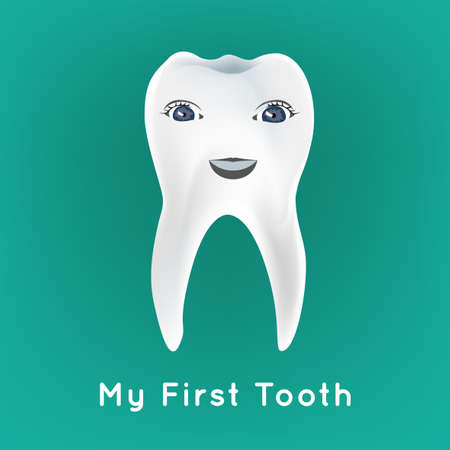 preliminary: Baby preliminary tooth vector illustration. Editable image on a blue background. Tooth character with a cute smiling face. Children teeth infographic. Illustration
