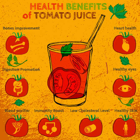 Health benefits of tomato juice. Medicine icons and elements in hand drawn style on a textured background. Vector illustration made in orange, red and green colors.