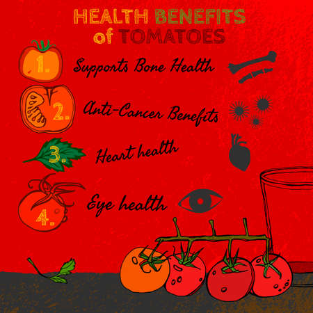 Health benefits of ripe tomatoes. Medicine image with icons and elements in hand drawn style on a textured background. Vector illustration made in orange, red, yellowand green colors.
