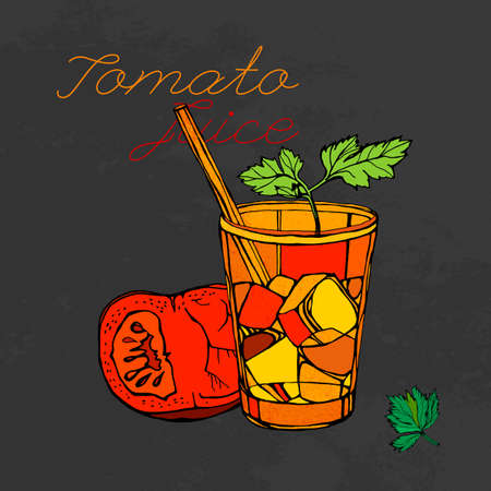 tomato juice: Hand drawn tomato juice image  in artistic style. Vector illustration on a textured dark gray background. Tomatoes, Ice and parsley in a glass in red, orange, black and green colors.