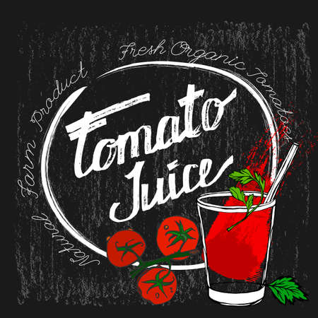 tomato juice: Hand drawn tomato juice image  in artistic style. Vector illustration on a textured dark gray background. Tomatoes and tomato juice in a glass in red, white, black and green colors.