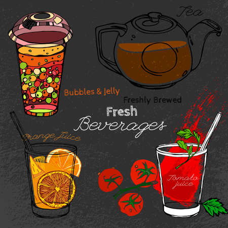 tomato juice: Hand drawn beverages set  in artistic style. Vector editable illustration on a textured dark gray background. Round glass teapot, orange and tomato juice and bubble tea.