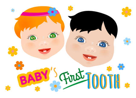 first teeth: Cute twins faces with first teeth on a white background. Tooth eruption concept with European babies portraits in a flat style. Useful for poster, leaflet or postcard graphic design