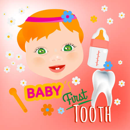 first teeth: Cute baby girl face with first teeth on a light pink background. Tooth eruption concept with  European baby portrait  in a flat style Illustration