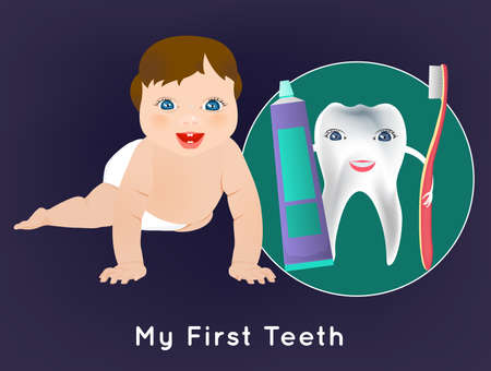 unclothed: My first tooth concept with cute crawling baby and tooth character holding toothbrush and toothpaste. Medical poster in bright cartoonish style.