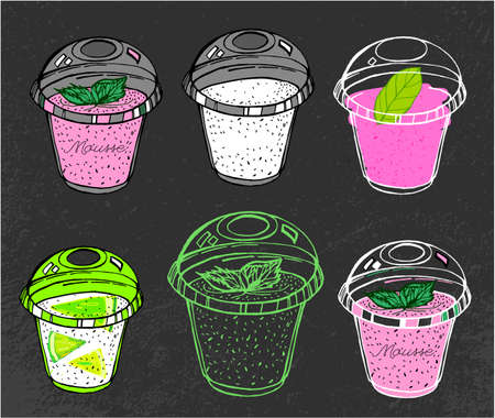 mousse: I like fruit mousse. Beautiful hand drawn images in modern artistic style on a dark gray textured background.