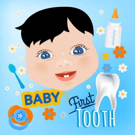 first teeth: Editable illustration. Cute baby boy face with first teeth on a light blue background. Tooth eruption concept with  European baby portrait  in a flat style. Ideal postcard design