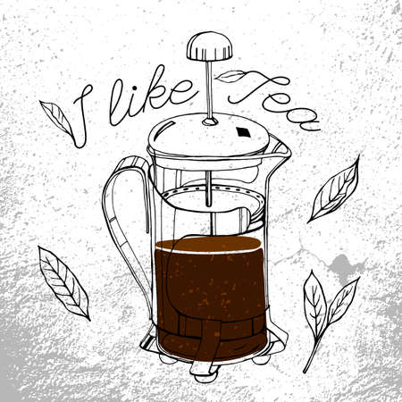 french cafe: tea-pot image in artistic style. editable illustration. Black outlined french press drawing with tea leaves and lettering. Menu element for cafe or restaurant