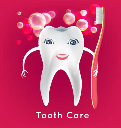 dental image: Tooth with toothbrush in childish style. Teeth hygiene concept. Dental image useful for poster, placard, leaflet and brochure design. Editable illustration