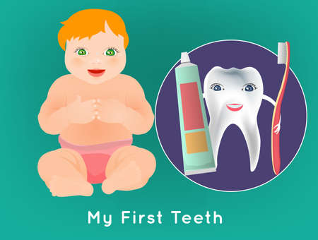 unclothed: My first tooth concept. Editable vector illustration with cute sitting baby and tooth character holding toothbrush and toothpaste. Medical poster in bright cartoonish style.