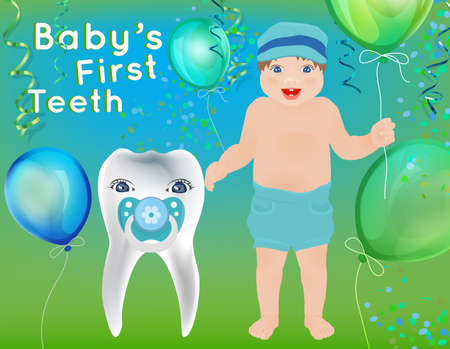 first teeth: Baby First Teeth postcard in childish style. Tooth hygiene concept in green and blue colors. Dental image useful for poster, placard, leaflet and brochure design. Illustration