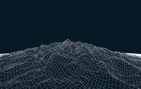 White abstract low-poly, polygonal rectangular landscape on a dark blue background for web, presentations, posters and prints. Illustration