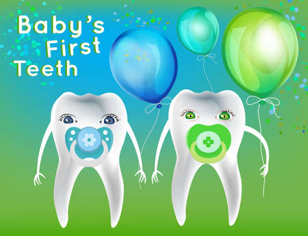first teeth: Baby First Teeth postcard in childish style. Tooth hygiene concept in green and blue colours. Dental image useful for poster, placard, leaflet and brochure design. Editable vector illustration