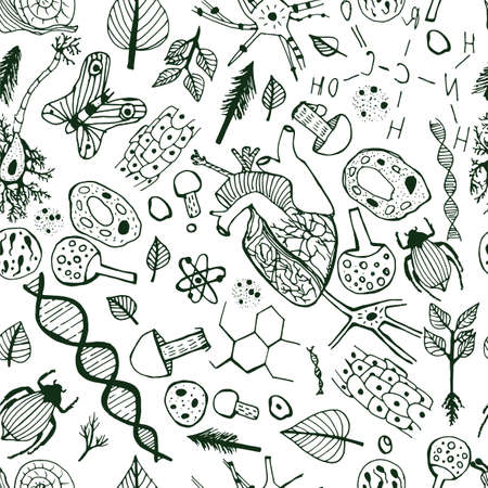Handdrawn biological image. Editable vector illustration in black and white colors. Botany, biology handwriting with hearts, cells and molecules on a light background. Seamless Pattern