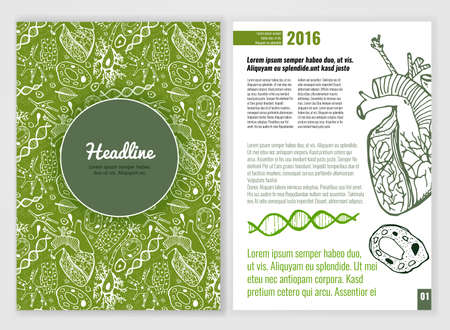 mycology: Biology scientific brochure template. Bright modern background for poster, print, flyer, book, booklet, brochure and leaflet design. Editable graphic image in white, black and green colors