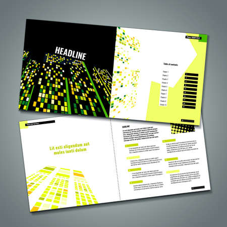 double page spread: Vector business brochure template. Modern backgrounds for poster, print, flyer, book, booklet, brochure and leaflet design. Editable graphic collection in green, yellow, orange and black colors