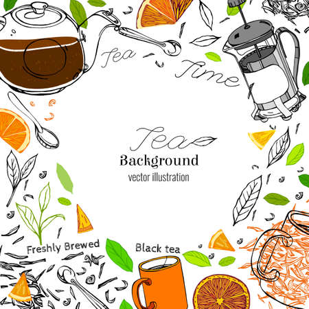 Hand drawn tea time image in artistic style. Vector editable illustration on a white background. Glass round teapot, coffeemaker, spoons and cups, orange slices and tea leaves.  イラスト・ベクター素材