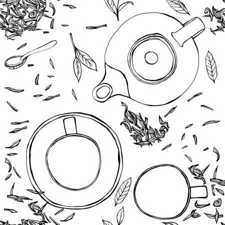ink drawing: Handdrawn vector illustration. Seamless pattern with tea leaves, teapot, mug, teacup and spoon. Black ink drawing on a white background.