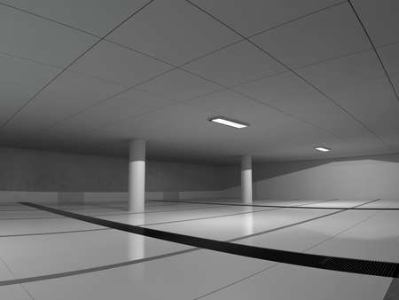parking lot interior: Abstract modern architecture background, empty white open space interior, 3D rendering