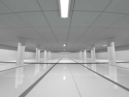 domestic garage: Abstract modern architecture background, empty white open space interior, 3D rendering