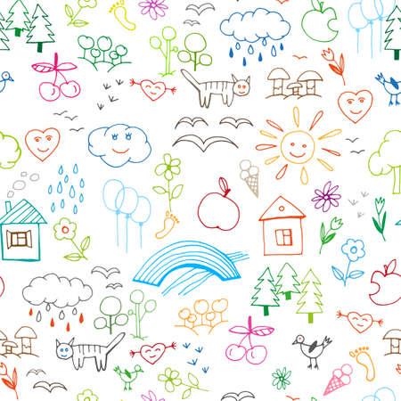 Prachtige kinderen tekeningen naadloos patroon in felle kleuren. Bewerkbare vector illustratie op een witte achtergrond. Grappig doodle set van gladde voorwerpen uit een leven kind en de natuur.