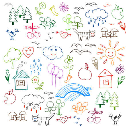 kid drawing: Beautiful children drawings pattern in bright colours. Editable vector illustration on a white background. Funny doodle set of plain objects from a child life and nature.