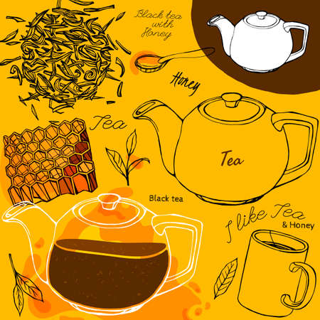 tea leaves: Hand drawn tea time image in artistic style. Vector editable illustration on a bright yellow background. White ceramic teapot, honey, mug and spoon, tea leaves. Menu element for cafe or restaurant