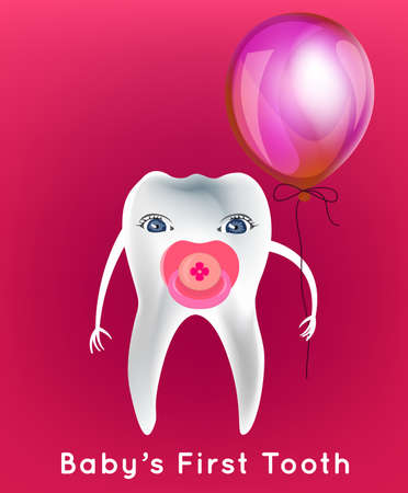 dental image: Tooth with a dummy and balloon in childish style. First children teeth concept. Dental image useful for poster, placard, leaflet and brochure design. Editable vector illustration on a pink background