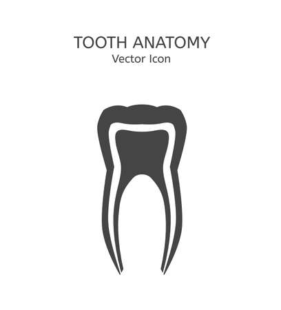 root canal: Tooth icon vector illustration. Medical concept in flat modern style. Editable image in dark gray color on a white background. Logotype or infographics element.