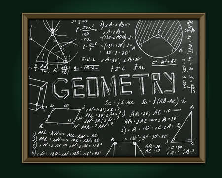 The illustration of beautiful scientific background with chalk handwriting. Geometric class blackboard. Totally vector fully scalable image with white handwritten text. Illustration