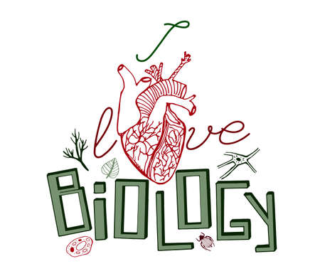 exercisebook: Hand drawn green and red biology pattern with unique green  lettering on a white background. Editable vector illustration. Scientific typography.  I love biology concept