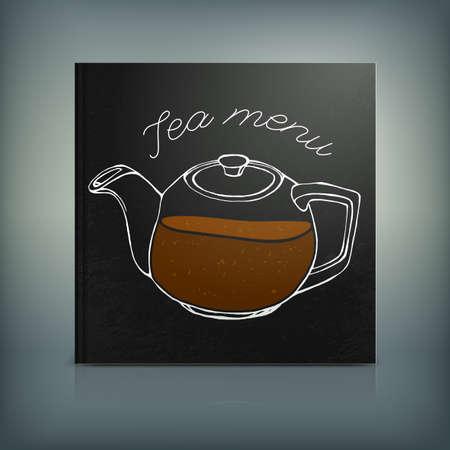 teahouse: Beautiful Menu concept for an eating house, restaurant, coffee-room, tea-house, tea-room, tea-shop, cafe or roastery. Editable vector illustration based on a hand drawn elements.