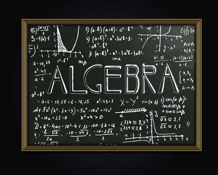 algebraic: The illustration of beautiful black scientific background with handwriting typography. Algebraic class blackboard. Totally vector fully scalable image with typography handwritten text.