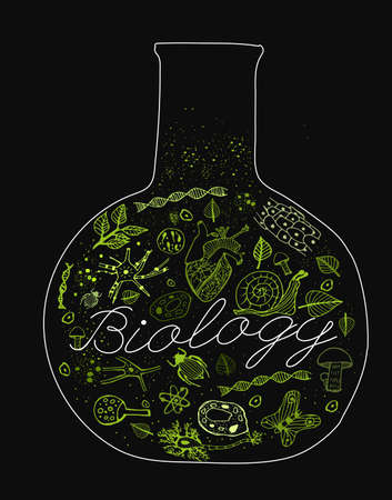 naturalist: Hand drawn biology pattern with neon green biological drawings on a dark gray textured background. Editable vector illustration. Scientific typography. I like biology concept