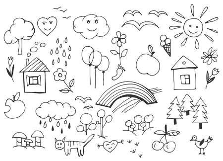 Prachtige kinder tekeningen patroon in zwarte kleur. Bewerkbare vectorillustratie op een witte achtergrond. Grappige krabbelreeks duidelijke voorwerpen van het een kinderleven en aard.