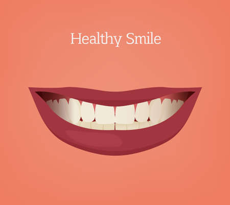 physiologic: Healthy woman smile vector illustration on a pink background. Medical and healthcare concept. Normal occlusion dental image. Illustration