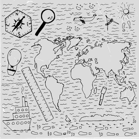 pacific: World vintage map. Travel and geography chalk picture. Vector illustration. Hand drawn image. Artistic creative concept. White and black colors