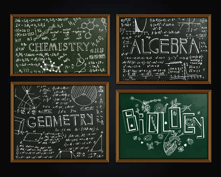 The illustration of black and green scientific backgrounds with chalk handwriting. School class blackboard. Totally vector fully scalable image with white handwritten text.