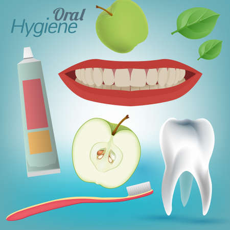 oral hygiene: Best friends of healthy tooth. Oral Hygiene Image on a light blue background. Vector illustration Illustration