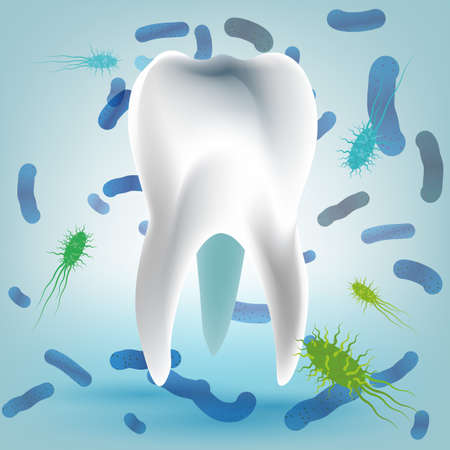 halitosis: Microscopic bacterias and viruses around tooth in a virtual mouth. Hygiene medical concept. Vector illustration in light blue colors