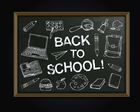 white  chalk: Back to school concept. White chalk drawings on a classroom blackboard. Abstract background for educational creative design. Vector image in white, black and grey colors Illustration