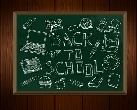 white  chalk: Back to school concept. White chalk drawings on a classroom blackboard. Abstract background for educational creative design. Vector image in white, green and brown colors