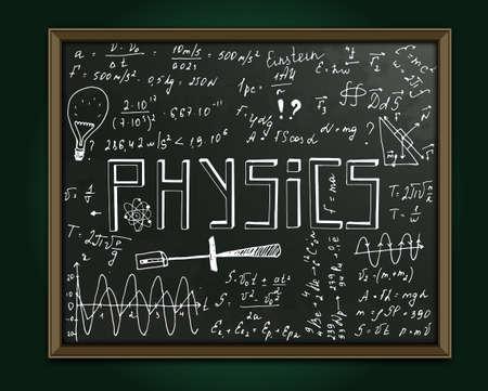 teorema: La ilustración de fondo hermoso científica negro con la escritura de tiza. pizarra de la clase física. vector totalmente escalable imagen totalmente blanca con texto escrito a mano. Vectores