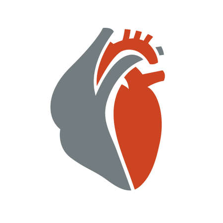 heart health: Heart symbol. Useful for sign development, indographics, postcard, leaflet, brochure, print, book and poster graphic design. Beautiful vector illustation in red and grey colors.